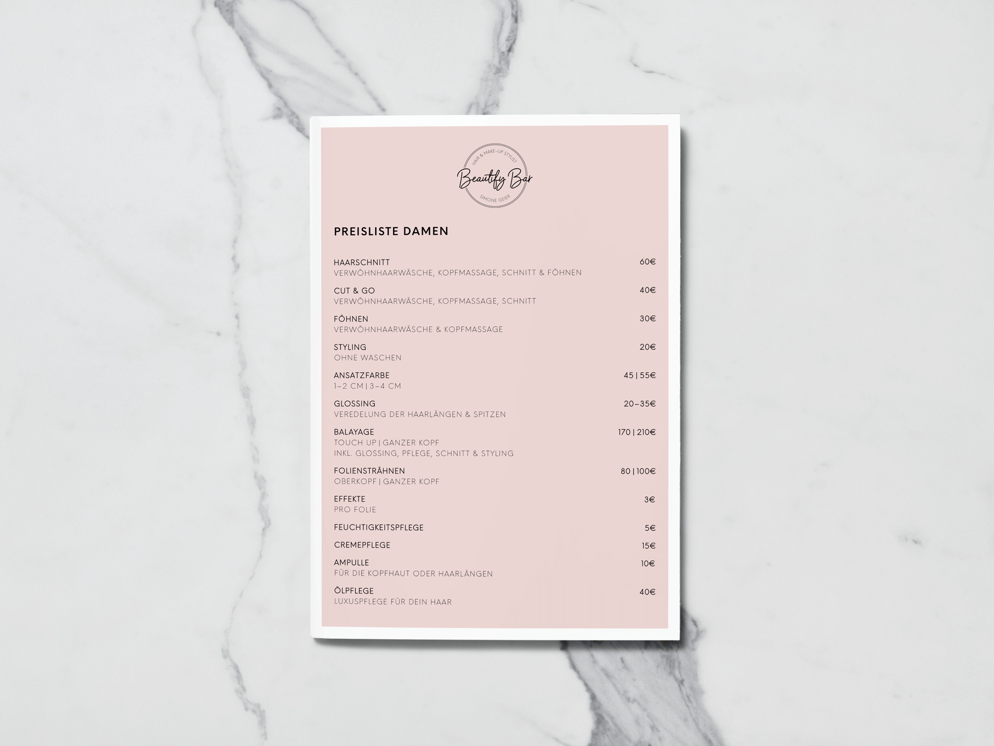 BeautifyBar Preisliste selina creates portfolio Print Graphicdesign München